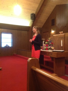 Courtney speaking at Orleans, Indiana