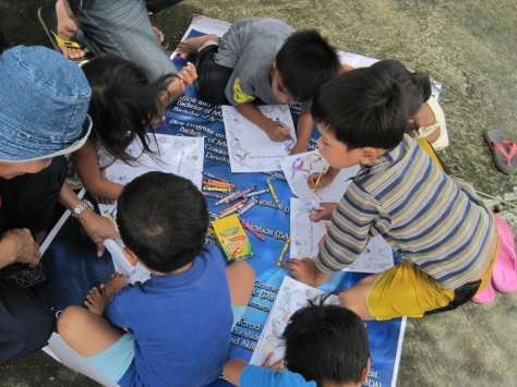 Children were encouraged to share their story through coloring