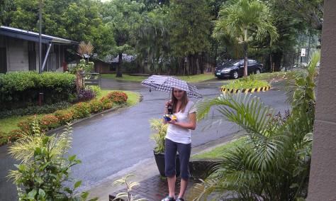 Courtney in the warm Asian rain.