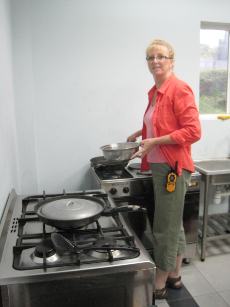 Saturday morning, Connie cooking breakfast for the W&W Team.