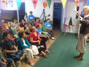 Connie speaking to the kids at Ridgecrest.