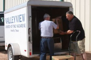 Unloading donated supplies from Valley View Church.