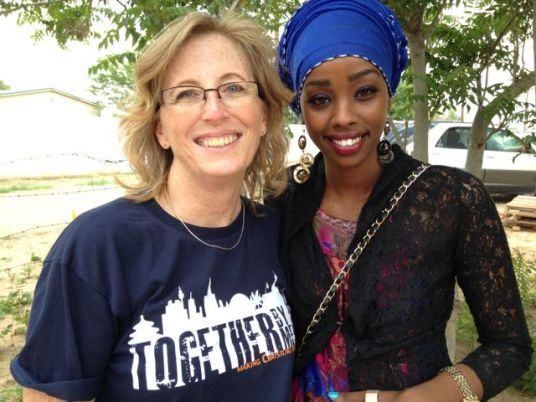 """Connie with a new friend """"Mona"""" whose family comes from Somalia."""