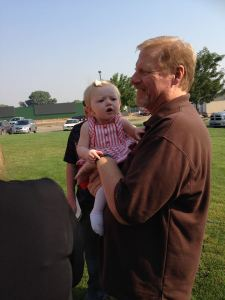 Curt standing in the gap as surrogate grandfather with our only grandchild...baby Noortje.